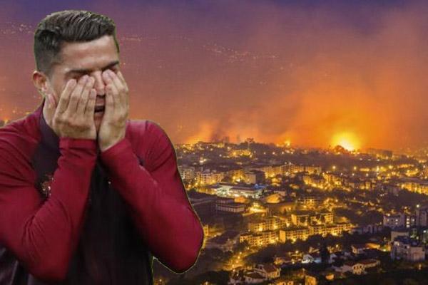 النيران المندلعة حتى الآن في فونشال تهدد مجمعاً رياضياً يملكه رونالدو