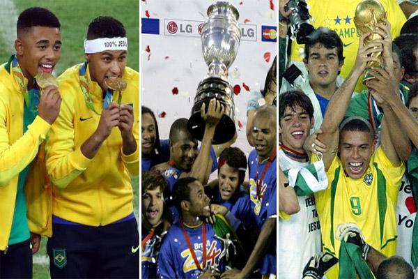 انضم المنتخب البرازيلي إلى لائحة المنتخبات التي نجحت في التتويج بألقاب البطولات الثلاث الكبرى