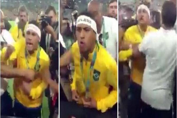 نيمار تشاجر مع أحد المشجعين أثناء احتفاله بالتتويج في ملعب
