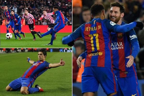 ميسي وزميليه سجلوا 302 هدف لنادي برشلونة منذ صيف عام 2014