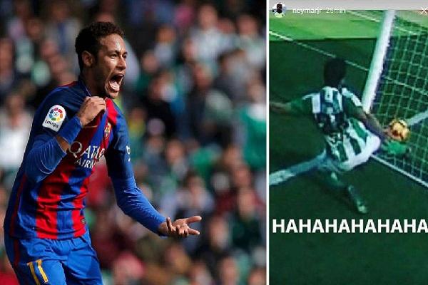 نيمار يسخر من حكم مباراة برشلونة وريال بيتيس