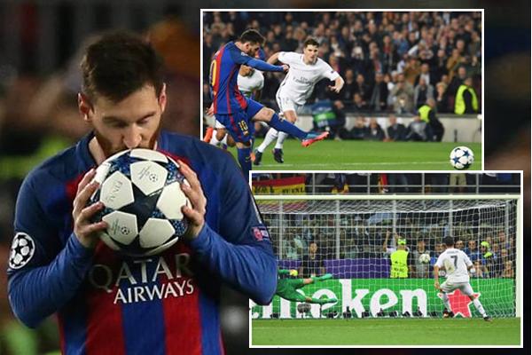 وصل ميسي إلى الهدف رقم 11 له في مسابقة دوري أبطال أوروبا من ركلات جزاء معادلاً بذلك رقم رونالدو