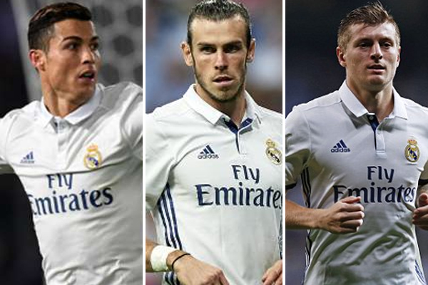 سيغيب الثلاثي البرتغالي كريستيانو رونالدو والويلزي غاريث بايل والألماني طوني كروس عن مباراة ريال مدريد ضد ليغانيس