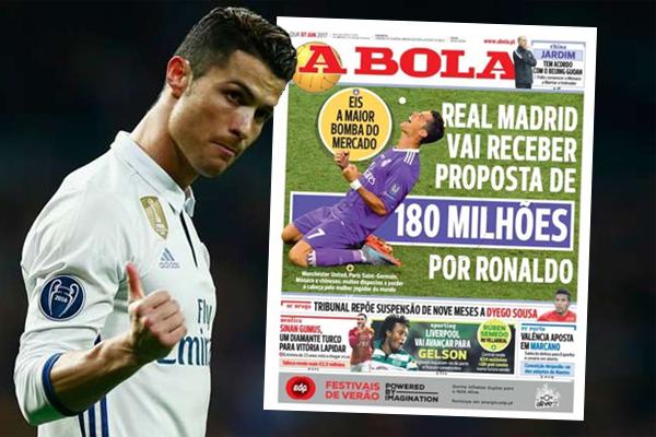 ريال مدريد الإسباني يترقب عرضًا ماليًا مغريًا للتخلي عن مهاجمه البرتغالي كريستيانو رونالدو خلال