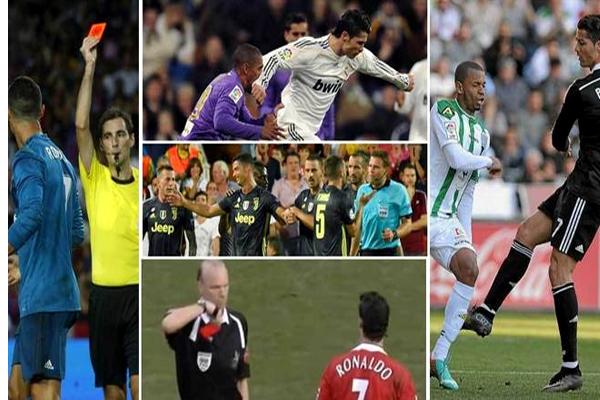 رونالدو يمتلك تاريخاً حافلاً بالبطاقات الحمراء والتي بلغت 11 بطاقة في مسيرته الكروية