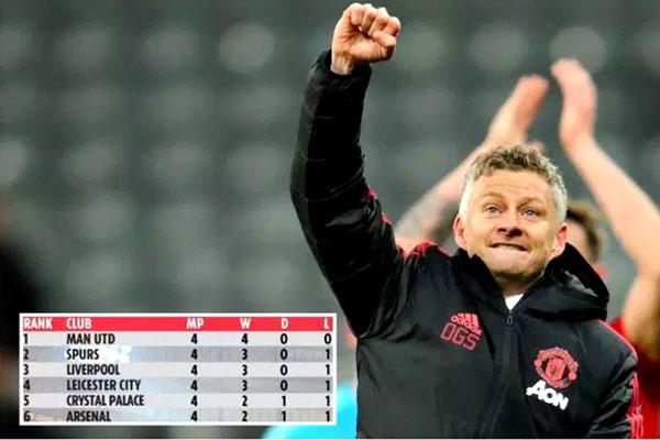 مانشستر يونايتد تصدر جدول ترتيب الدوري باحتساب نتائج المباريات التي خاضها منذ تعاقده مع سولسكاير