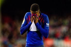 ديمبيلي يغيب عن برشلونة لمدة أسبوعين بسبب التواء في الكاحل