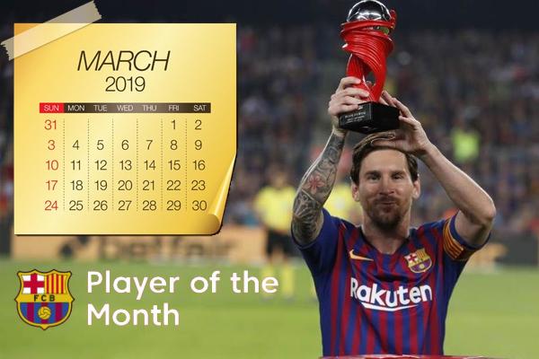 اصبح ميسي ثاني أكثر اللاعبين تتويجاً بجائزة لاعب الشهر في البطولة بواقع خمس مرات