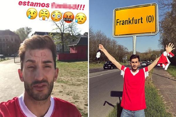 مشجعان لبنفيكا يحتفلان بالوصول الى فرانكفورت... أخرى