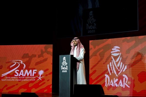 رئيس الهيئة العامة للرياضة في السعودية الأمير عبد العزيز بن تركي الفيصل يتحدث خلال حفل إطلاق رالي دكار في المملكة، في 25 نيسان/أبريل 2019.
