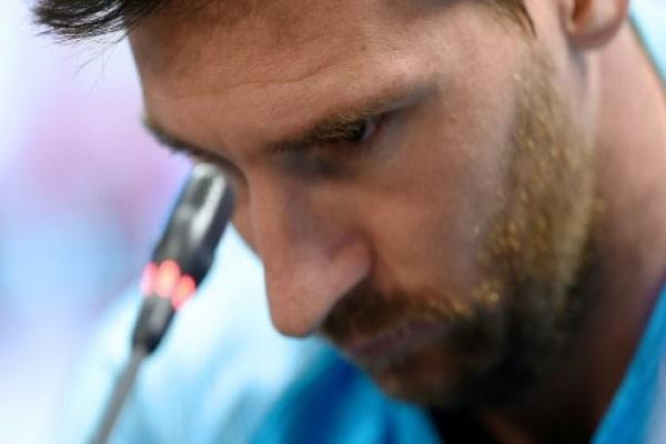 الأرجنتيني ليونيل ميسي مهاجم برشلونة الإسباني يتحدث خلال مؤتمر صحافي في 24 أيار/مايو 2019. ا ف ب