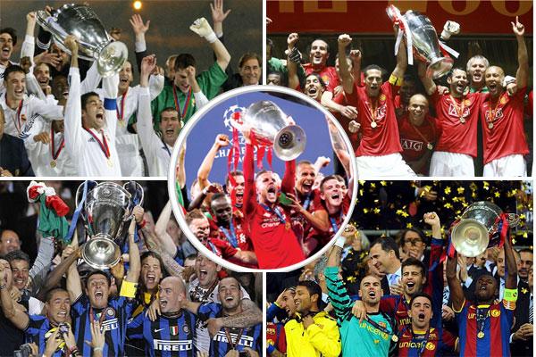 قائمة غير الأبطال المحليين والمتوجين باللقب القاري شملت إنتر ميلان وريال مدريد ومانشستر يونايتد وبرشلونة