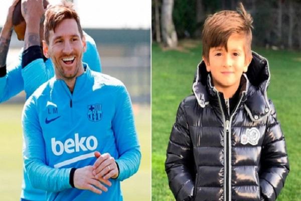ليونيل ميسي مهاجم برشلونة أكد أن ابنه البكر تياغو يحتفل بالأهداف التي يسجلها ريال مدريد