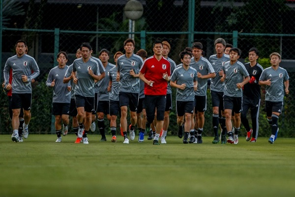 المنتخب الياباني خلال حصة تمرينية في ساو باولو عشية افتتاح بطولة كوبا أميركا