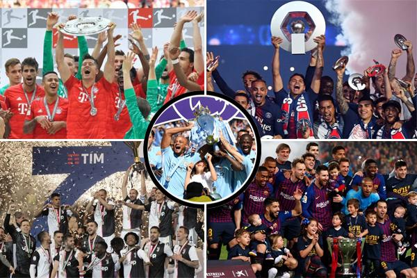 نجح حاملو ألقاب الدوريات الأوروبية الخمسة الكبرى في الاحتفاظ بألقابهم خلال الموسم المنقضي
