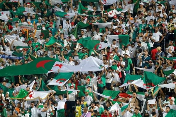 مشجعون جزائريون في مدرجات ستاد القاهرة الدولي خلال مباراة منتخب بلادهم ضد نيجيريا في نصف نهائي كأس الأمم الإفريقية