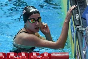 السباحة السورية اللاجئة يسرى مارديني خلال مشاركتها في تصفيات سباق 100 م فراشة ببطولة العالم للسباحة بغوانغجو