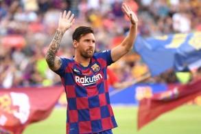 النجم الأرجنتيني ليونيل ميسي مهاجم نادي برشلونة الإسباني