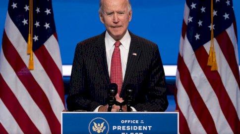 الرئيس الأميركي المنتخب جو بايدن يلقي كلمة في وويلمنغتون بولاية ديلاوير في 19 ت2/نوفمبر 2020