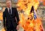 متظاهرون ايرانيون احرقوا دمية للسفير البريطاني